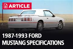 1987-1993 Fox Body Ford Mustang Specifications