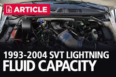1993-2004 F150 SVT Lightning Fluid Capacity