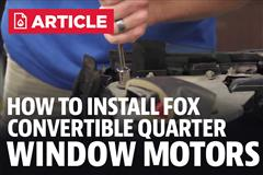 How To Install Fox Body Mustang Convertible Quarter Window Motors