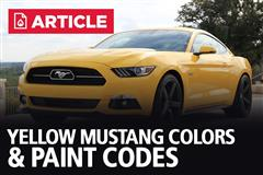 Yellow Mustang Colors & Paint Codes