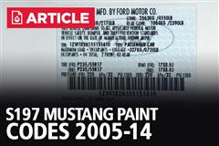 S197 Mustang Paint Codes (05-14)